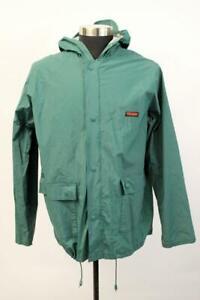STEARNS DRY WEAR Green Rain Jacket Raincoat Lightweight Waterproof Hooded MEDIUM