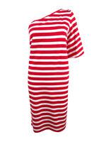 Lauren by Ralph Lauren Women's Striped One-Shoulder Dress (M, Red Multi)