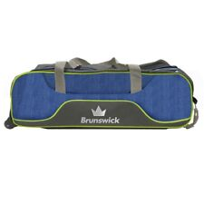 Brunswick Crown DELUXE Triple 3 Ball Tote Bowling Bag with tow wheels NAVY/LIME