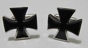 Enamel Black Iron Cross Novelty cufflinks