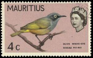 """MAURITIUS 278a - Olive White-eye """"Rose Lilac Omitted"""" (pb37065)"""
