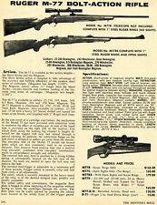 1972 Print Ad of Ruger Model M77 M77R M77RS Bolt Action Rifle