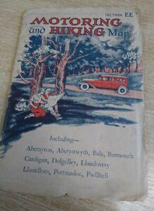Vintage Antique 1920's 1930's Motoring & Hiking Map North Wales EE