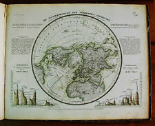 1849 MEYER'S ZEITUNGS-ATLAS=GEOGR.MAP:CURVE ISOTERMICHE DELL'EMISFERO NORD..
