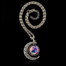 Fantasy Moon Star Color Nebula Moonstone Pendant Necklace Crescent Sweater chain