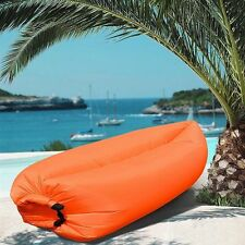 New Air Sleeping Bag Lazy Chair Lounge Beach Sofa Bed Inflatable Camping Orange