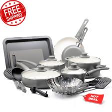 Ceramic Non-Stick 18 Piece Cookware Set Pots Pans Lids Kitchen Utensils Gray NEW