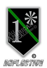 "Thin Green Line Decal 3"" inch 1* (SHEILD) Reflective Decal Sticker"