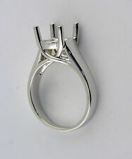 1.5CT SOLITAIRE RING MOUNTING 14K SOLID WHITE GOLD FOR 7.5 MM ROUND STONE