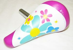"KID'S BICYCLE SEAT 22.2mm SEATPOST PURPLE FLOWER BMX for 12"" or 16"" bikes"