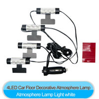 4x 3LED Car Charge 12V Glow Interior Decorative 4in1 Atmosphere WHITE Light Lamp