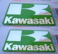 "2 x KAWASAKI GENUINE ""K"" BADGE FAIRING STICKER DECAL GREEN SILVER 42mm x 24mm"