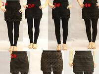 Women's Embroiderd Floral Lace Black Culot Leggings Pants Skirt Size fit 6-12