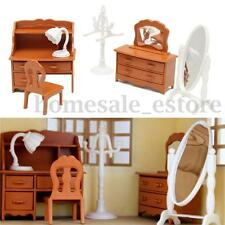 Vintage Plastic Miniature DollHouse Furniture Set Bedroom Decor Kids Toy