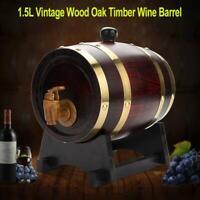 1.5L Vintage Oak Timber Wine Barrel for Beer Whiskey Rum Port Wood Keg US