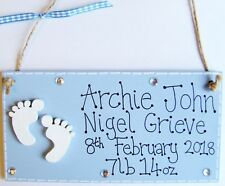 PERSONALISED HANDMADE PLAQUE SIGN NEW BABY BOY GIRL BIRTH KEEPSAKE GIFT NURSERY