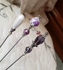 Hat Pins, Scarf Pins Vintage Antique Inspired Mixed Beads. Pearl, Purple, Silver