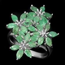 Elegant Natural Top Green Marquise Brazil Emerald 925 Sterling Silver Ring # 8
