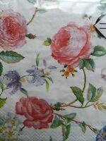 Mesafina Set of 40 Cocktail Beverage Floral Paper Napkins Decoupage 3 Ply Grace