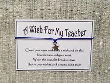 A Wish For My Teacher * Wish Bracelet * Star Charm * Friendship * Gift *