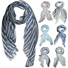 Men Scarf Striped Thin Summer Shawl Stripe Large Black Light Spring Long Scarves