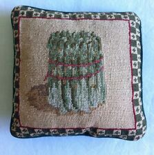 VINTAGE Sweet Lovely CUSHION COVER Tapestry Needlepoint Asparagus Green Velvet