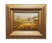 Framed oil painting of Tuscany landscape with a gold wood frame 14x16