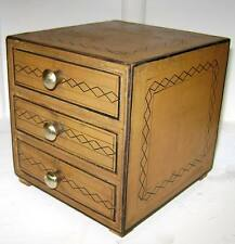 Box Vintage Style  Hand painted 3 Drawer and brass knobs  14x14x13cm