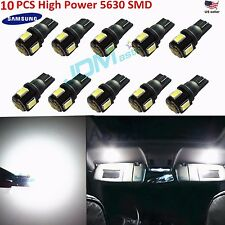 JDM ASTAR 10x White T10 Wedge 5630 SMD LED License Plate Light Bulb 194 168 2825