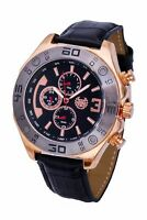 Mens Black Leather Watch Rose Gold Case Reloj de Hombres Multifunction Day Date