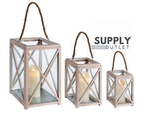 Distressed Set Of 3 Wooden Rope Open Top Home Garden Storm Lantern Candle Holder