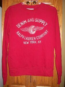 Denim & Supply Ralph Lauren Co. New York Red Crew Pullover Sweatshirt sz Medium