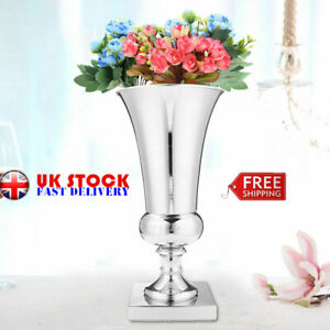 400mm Large Stunning Silver Iron Luxury Flower Vase Urn Wedding Table Silver