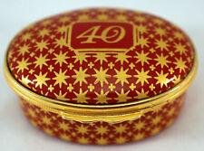 Halcyon Days Enamel Trinket Box 40 Red with Gold Stars Anniversary Birthday