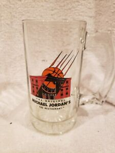 BEAUTIFUL 1990's Michael Jordan's Restaurant 5 1/2 Inch Clear Glass Mug, MINT!