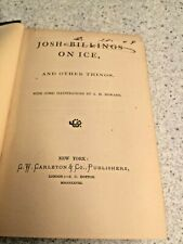 John Billings on Ice and Other Things 1868 Illus by J Howard 1st Edition