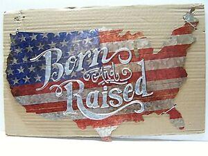 "USA Born and Raised Man Cave American Flag Metal Nation Sign 18""x11"""