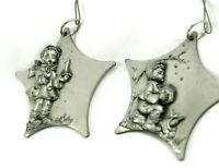 Vintage Pewter Ornaments Italy Christmas RR Boy Girl Pair  Holiday Tree Metal