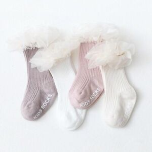 Lace Ruffle Baby Knee High Socks Solid Color Soft Anti-slip Princess Baby Girls