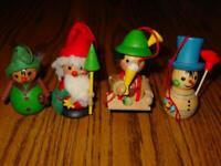 (4) STEINBACH Vtg WOOD Christmas Ornaments Germany- SANTA, SNOWMAN, HUNTER, BEER