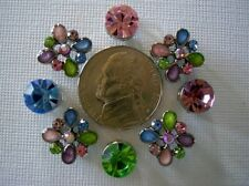 2 Hole Slider Beads Floral Drops Lt Mixed Crystal Made with Swarovski Elements#8