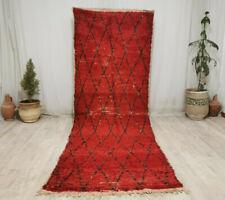 """Handmade Moroccan Vintage Berber Rug 3'9""""x10'5"""" Geometric Wool Red Black Rug"""