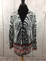 Chico's Open Front Cardigan Sweater Thin Black Red Linen Blend Size 1 Medium