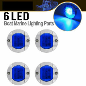 4X Round Marine Boat LED Courtesy Lights Cabin Deck Starboard Stern Light Blue