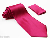 HOT PINK CLASSIC MATCHING TIE SET 2 PIECE POCKET SQUARE HANKY FORMAL WEDDING TIE