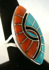 Zuni Ring by AMY QUANDELACY  Sterling Silver Multi-Stone Inlays Size 7.25