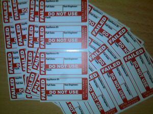 Pat Testing Labels 20 X Failed Pat Test Labels stickers
