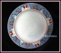 "Sakura Debbie Mumm Snowman 10-3/4"" Dinner Plate Snowmen Stoneware VGC Blue & Whi"