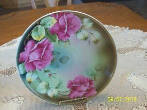 Rose & Foliage Large Antique Porcelain Display Or Wall Hanging Charger Platter
