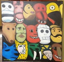 """Mayan Mask"" canvas painting by Bob Davis (signed)"